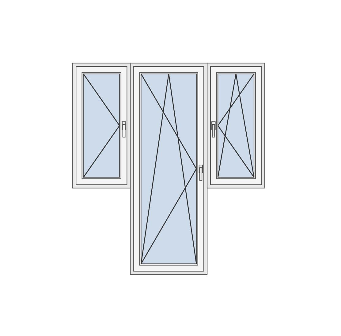 Balkonska vrata sa dva prozora