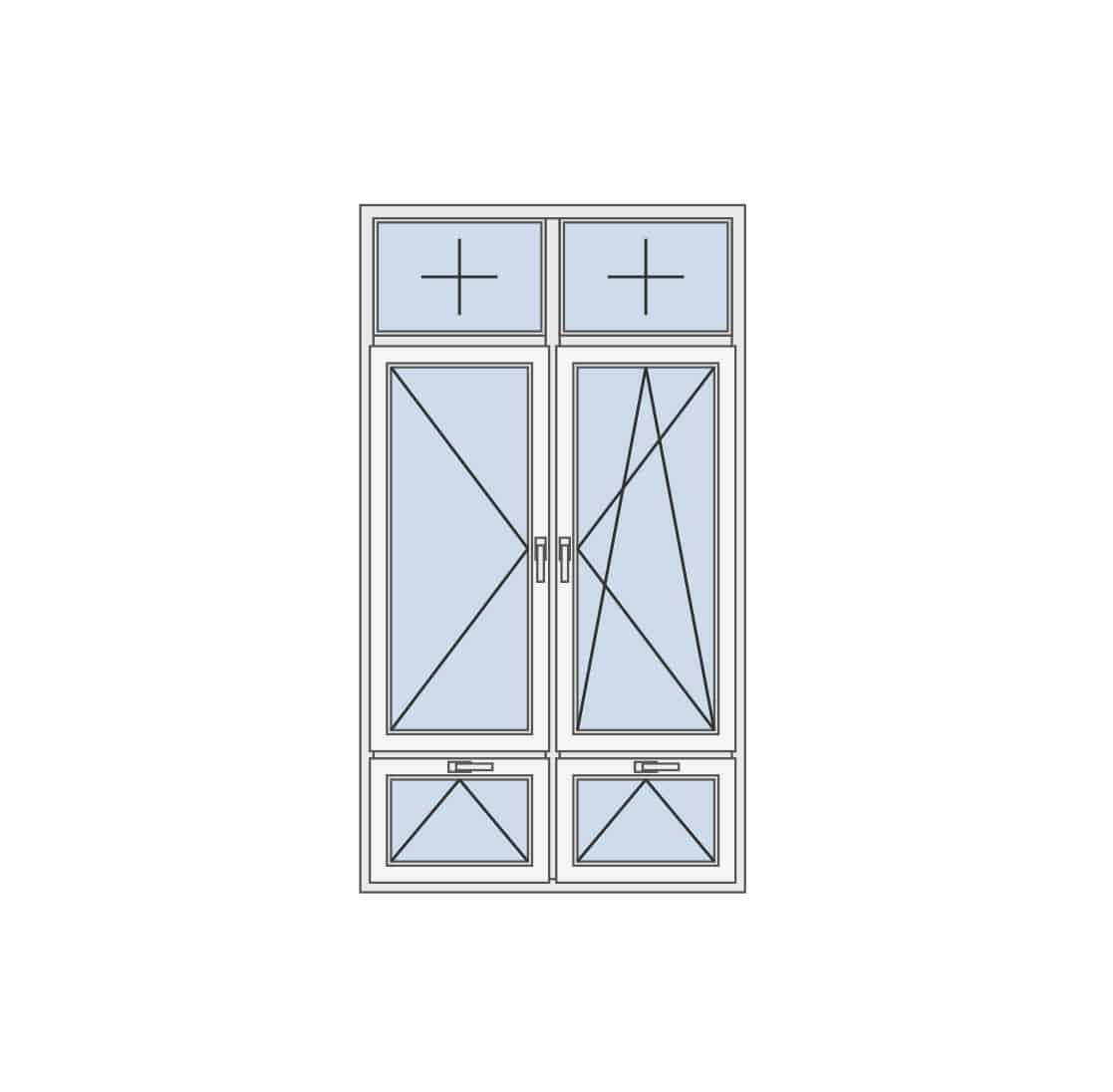 Dvokrilni prozor as kombinacijom