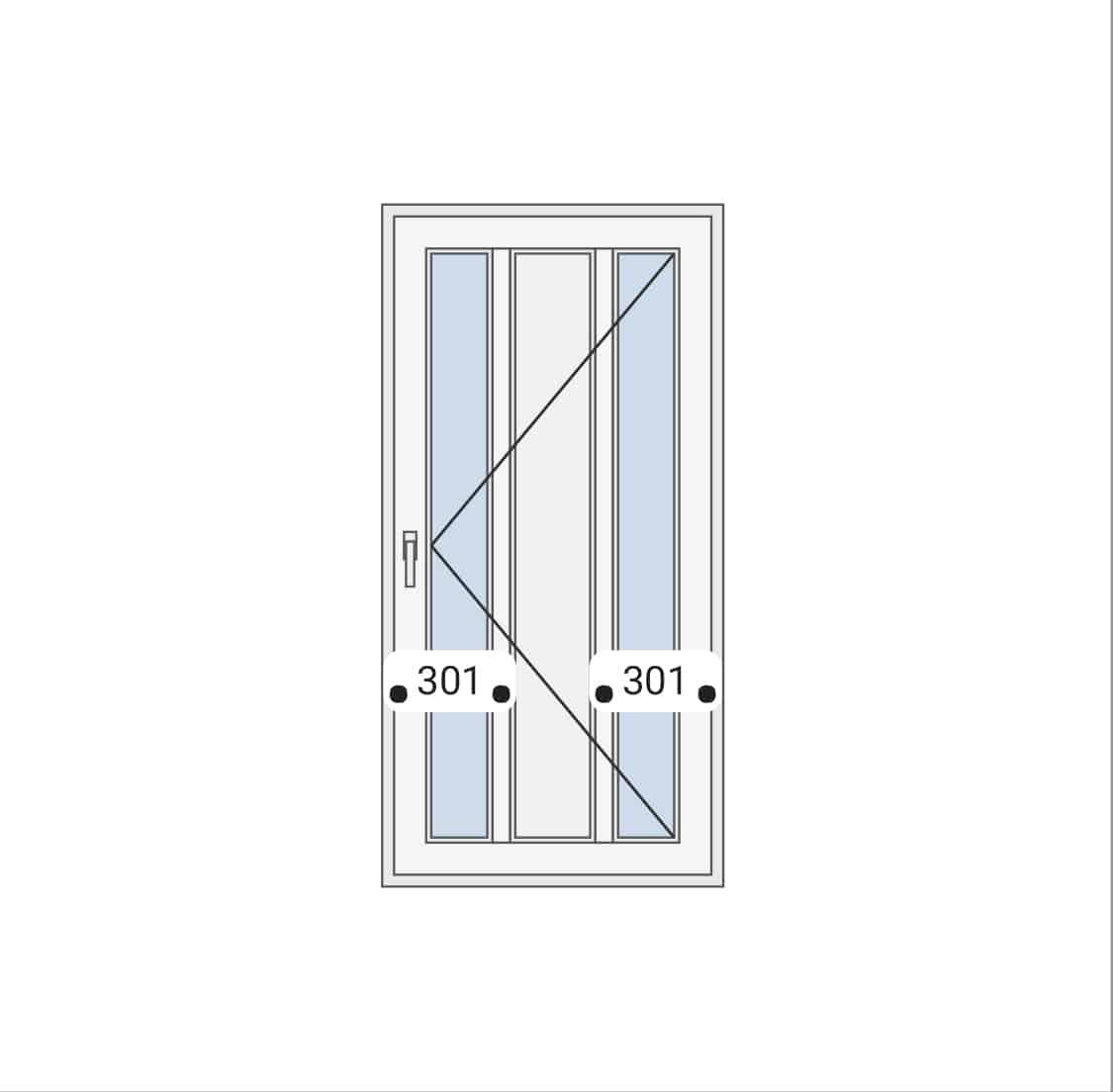 Jednokrilna vrata sa panelom i staklom